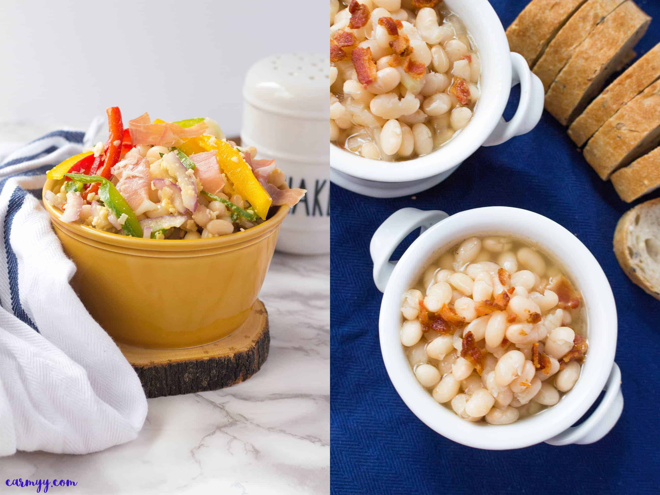 Two Protein Packed Lunch Ideas. A tuscan bean salad and tuscan bean soup.