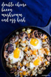 Double Cheese, Bacon, Mushroom, and Egg Hash