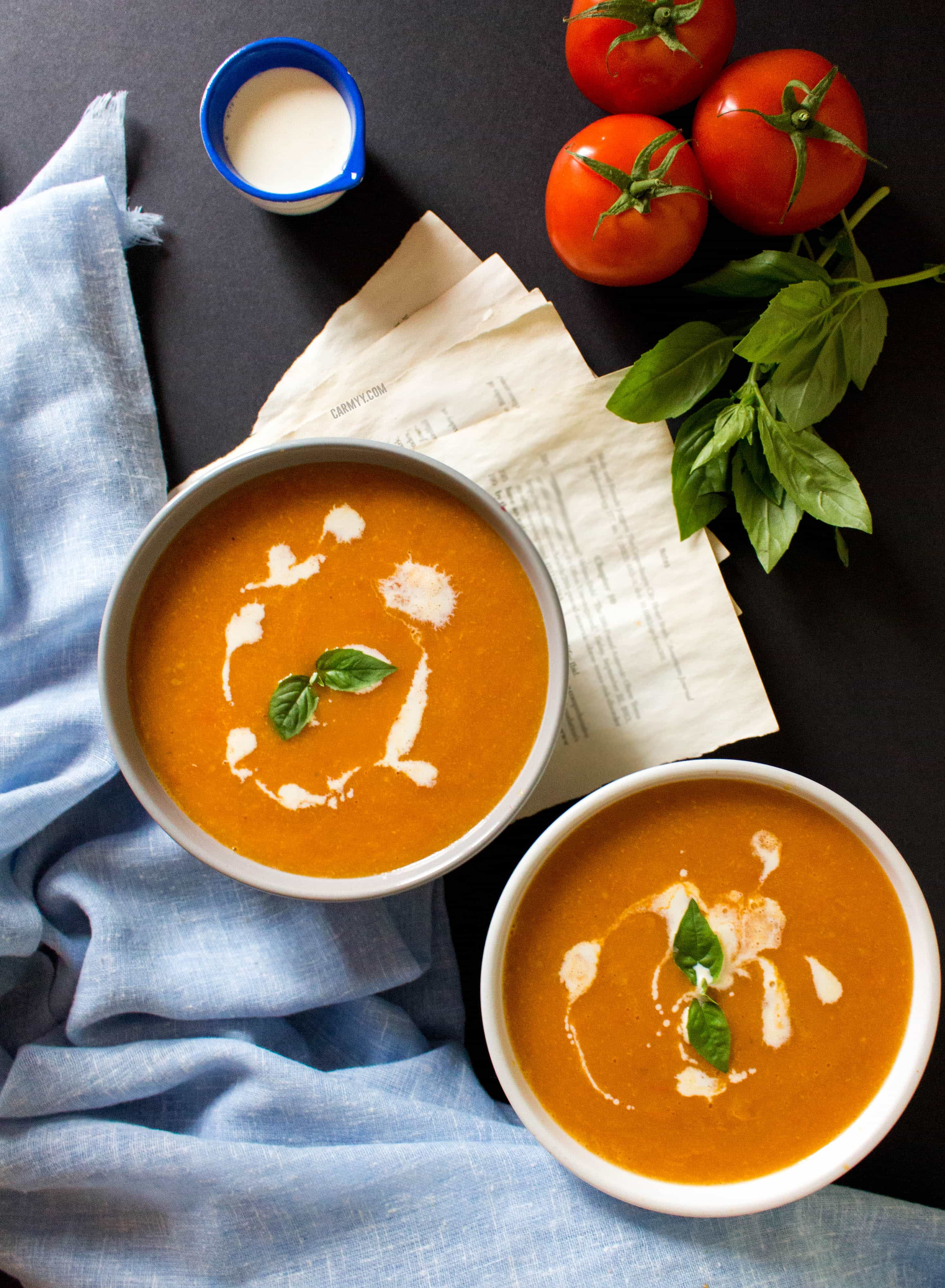 On rainy days where I want to snuggle up on the couch, my go-to soup is this very easy roasted tomato and garlic soup.