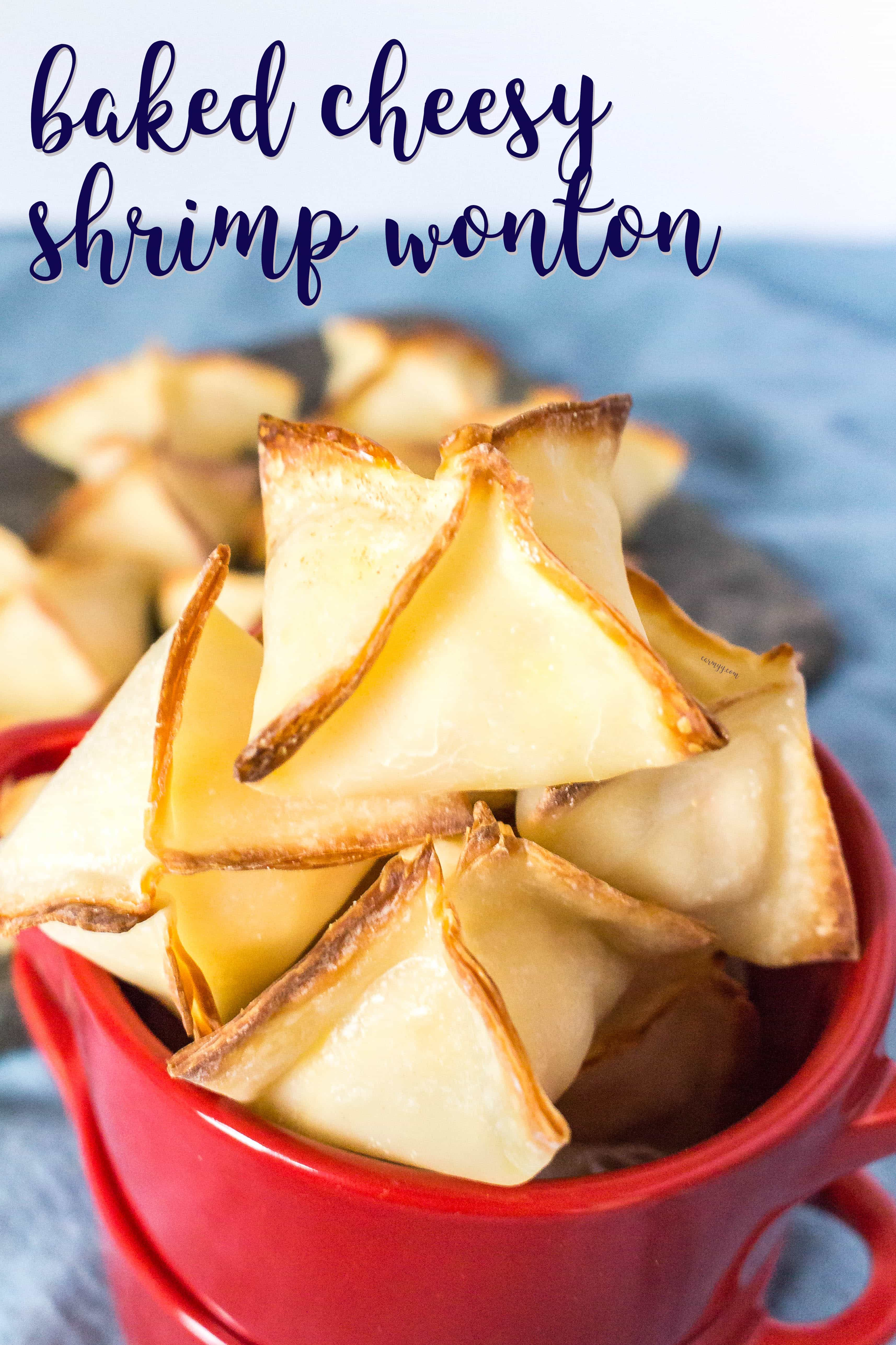 These baked cheesy shrimp wontons are easy to make and are the perfect crowd pleaser for parties or get togethers. Inspired by the deep fried shrimp wontons from sushi restaurants, this is a healthier version made by baking instead.