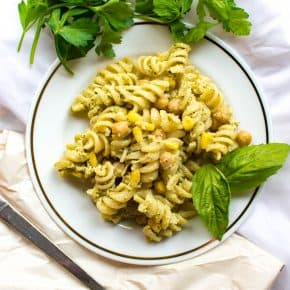 Need a last minute idea for a potluck? Try this chickpea pesto pasta! Super easy to make in under an hour.