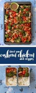This Sheet Pan Meal Prep: Cashew Chicken with Veggies is so easy and fast to make. My take on the popular Chinese takeout dish, my version only requires one pan to make and takes under an 40 minutes to make!