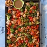 This One Sheet Pan Meal Prep: Cashew Chicken with Veggies is so easy and fast to make. My take on the popular Chinese takeout dish, my version only requires one pan to make and takes under an 45 minutes to make!