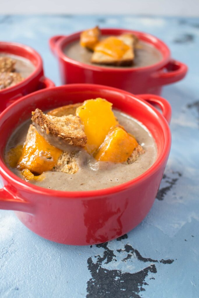 Mushroom Soup with Tuile Style Cheesy Croutons #Canada150