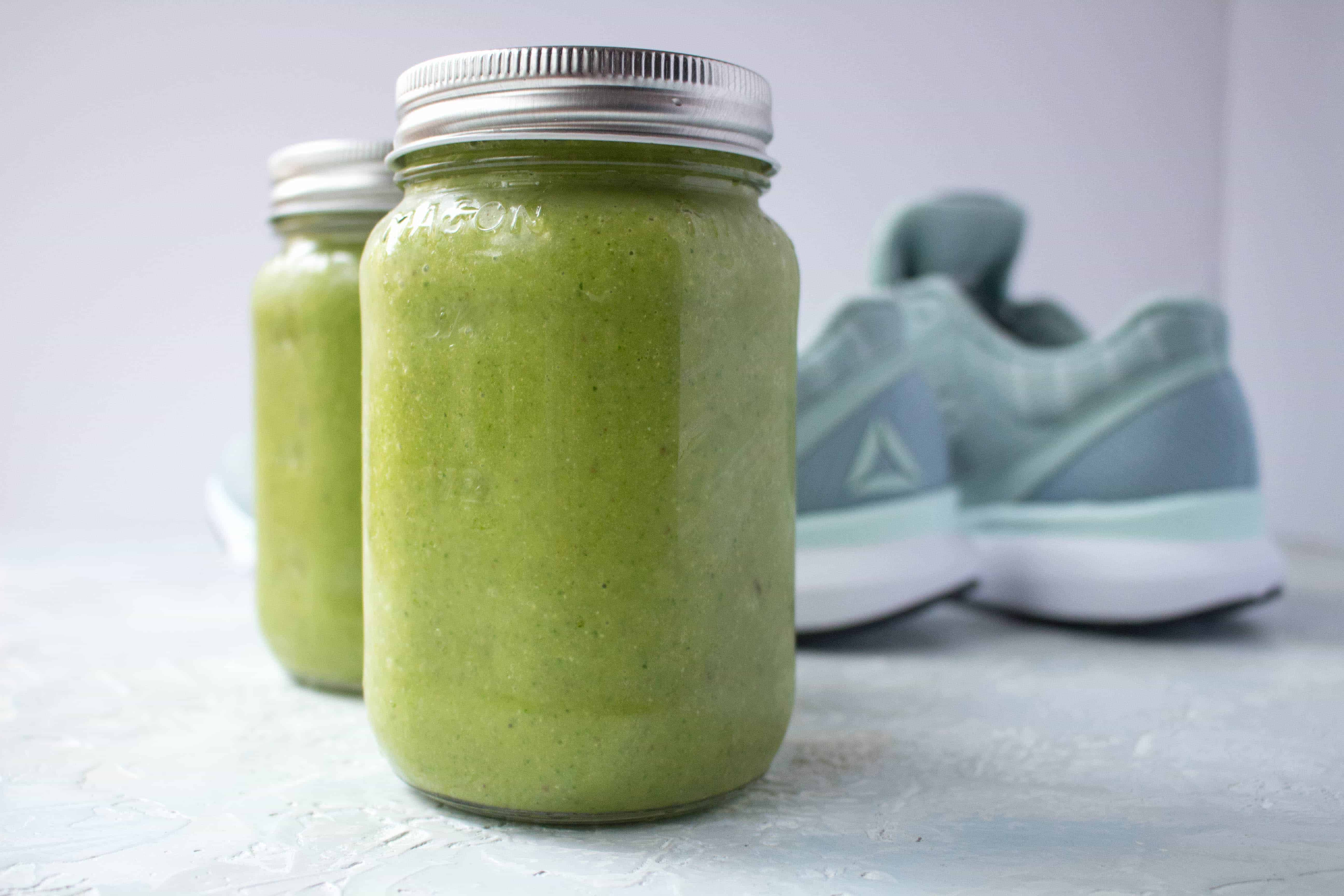 A quick and easy post-workout green mango recovery smoothie!