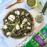 Craving some pizza but looking for a healthier alternative? Try this Kale Beet Pesto Pizza with a Chickpea Crust!