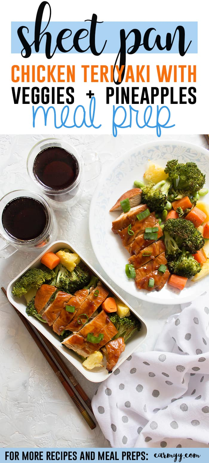 ThisSheet Pan Chicken Teriyaki with Veggies and Pineapple Meal Prep (no sesame) is the healthier homemade version of the popular chicken teriyaki takeout! A pan of juicy chicken with asweet and tangy sauce alongside roasted vegetables and pineapple!