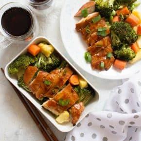 Sheet Pan Chicken Teriyaki with Veggies and Pineapple Meal Prep (no sesame)