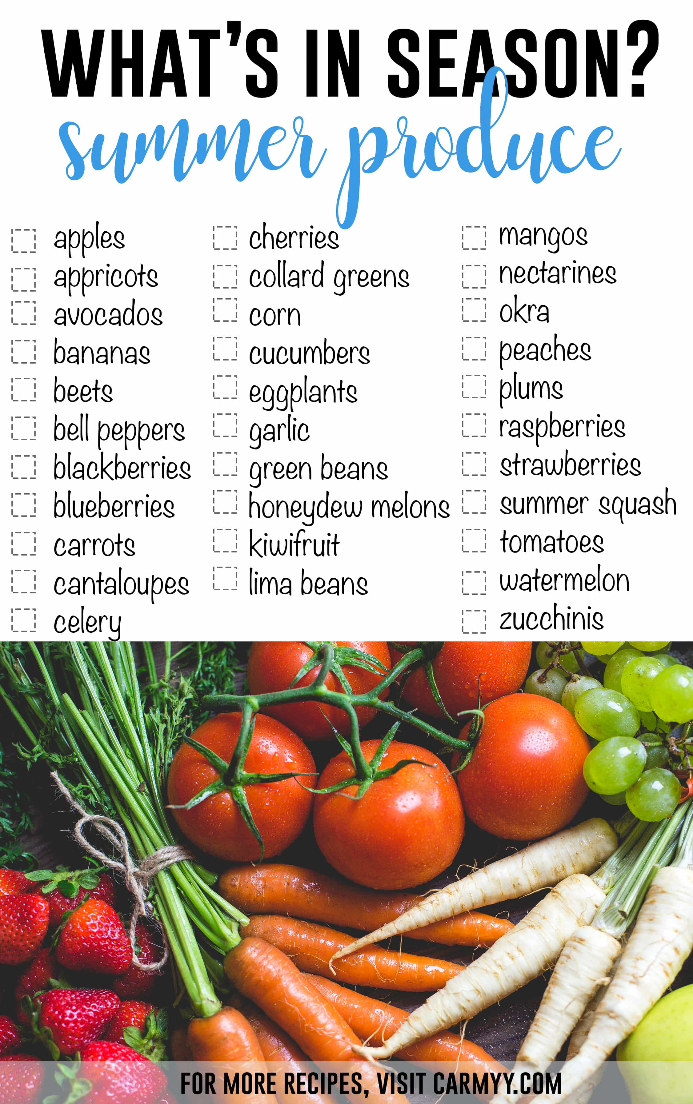 What's In Season? Summer Produce Edition. Use this checklist for your upcoming meal preps.