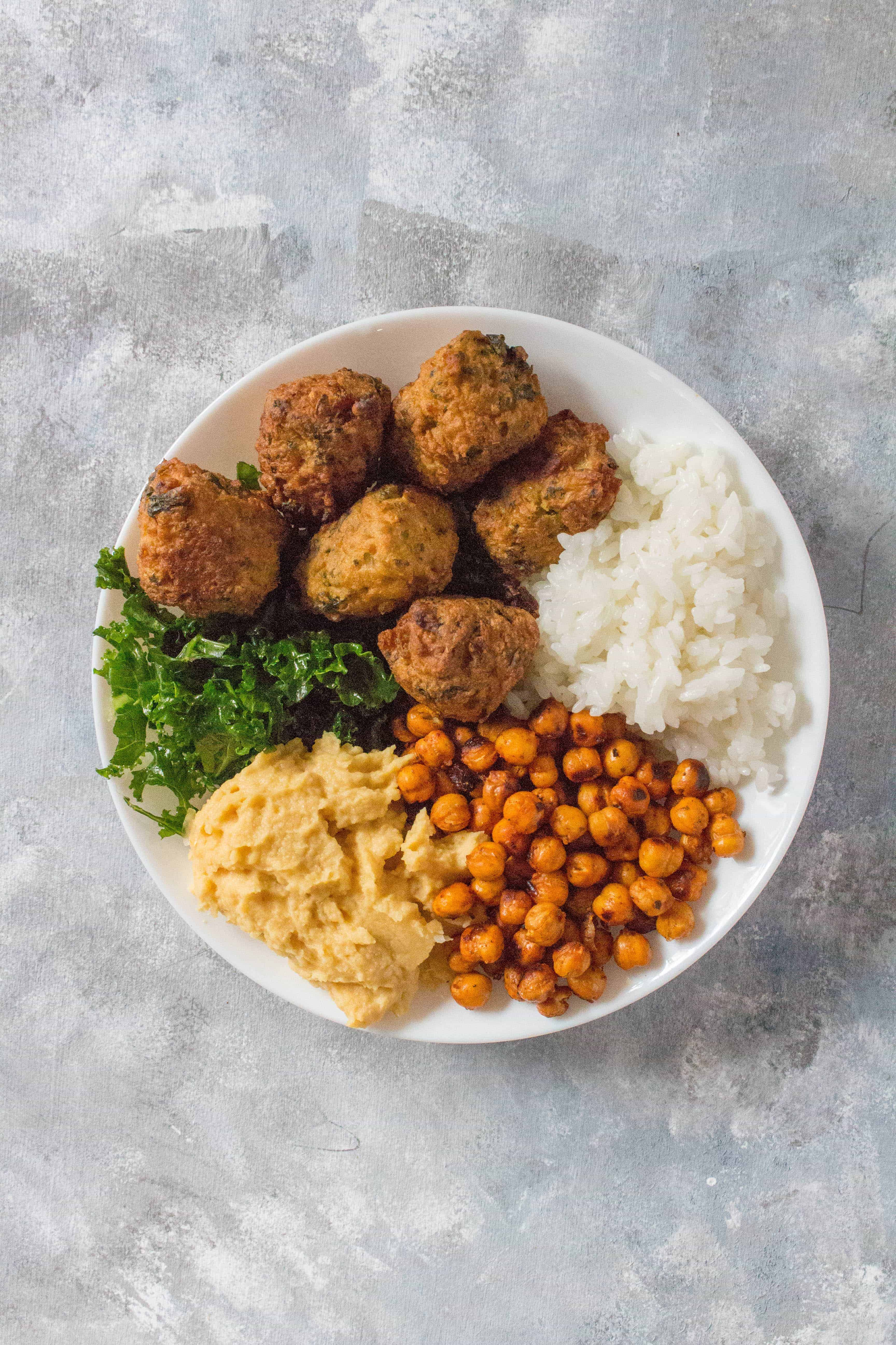 pakora chickpeas hummus kale rice bowl