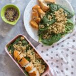 A delicious quinoa salad with honey garlic chicken that takes less than 40 minutes to make. This meal prep idea will get you excited for lunch time during your work week!