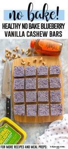Healthy No Bake Blueberry Vanilla Cashew Bars