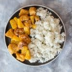 This one pan spicy pineapple chicken meal prep with have you craving more! It's made in one pan, healthy, sweet, and spicy plus it's is way better than takeout!