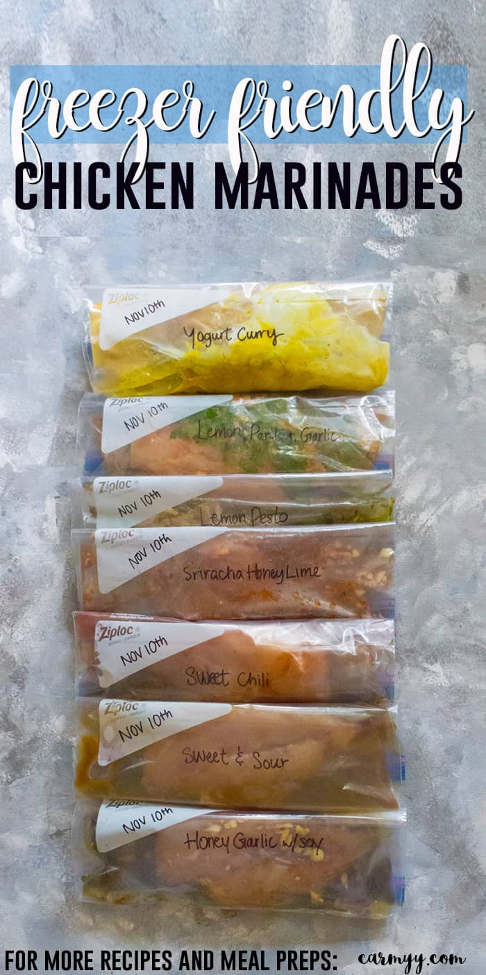 Freezer Friendly Chicken Marinades: Grab it from the freezer and let it thaw out in the fridge while you're at work! Marinades are amazing at turning meat into flavourful, moist meals that can be stored in your freezer for up to four months. #freezerfriendlymeals #freezerfriendly #freezerfriendlyrecipes #marinades