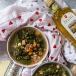 This hearty tuscan white bean, kale, pancetta, and polenta soup is so easy to make and is perfect to cozy up to on a cool fall day.