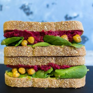Work Week Lunch: Beet Hummus, Guacamole, Roasted Chickpea, and Spinach Sandwich