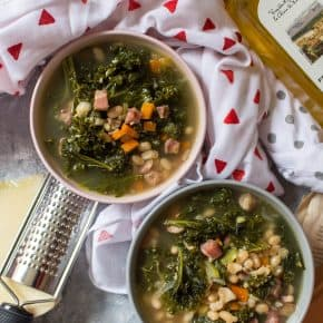 Hearty Tuscan White Bean, Kale, Pancetta, and Polenta Soup + Video