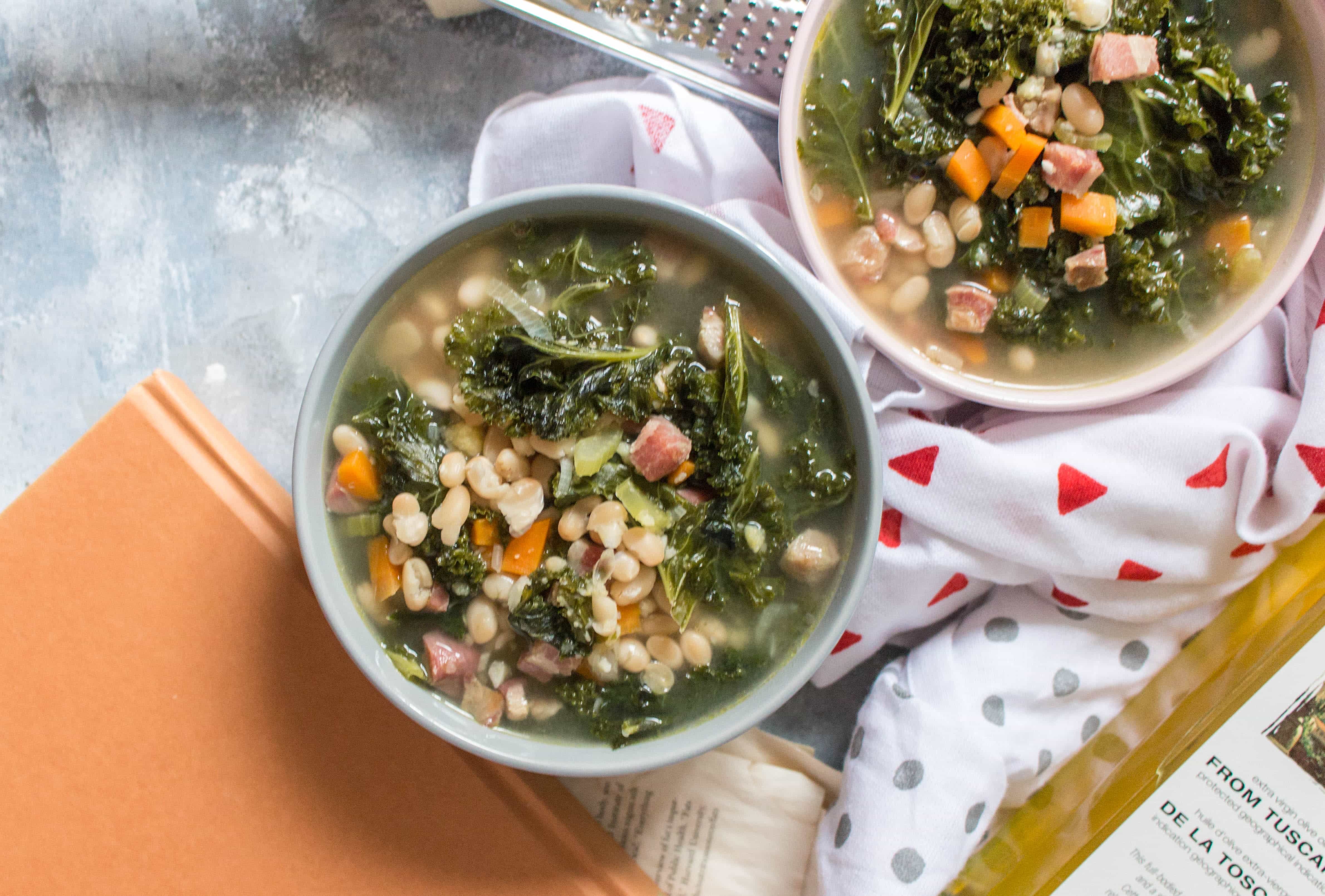 Tuscan White Bean, Kale, Pancetta, and Polenta Soup