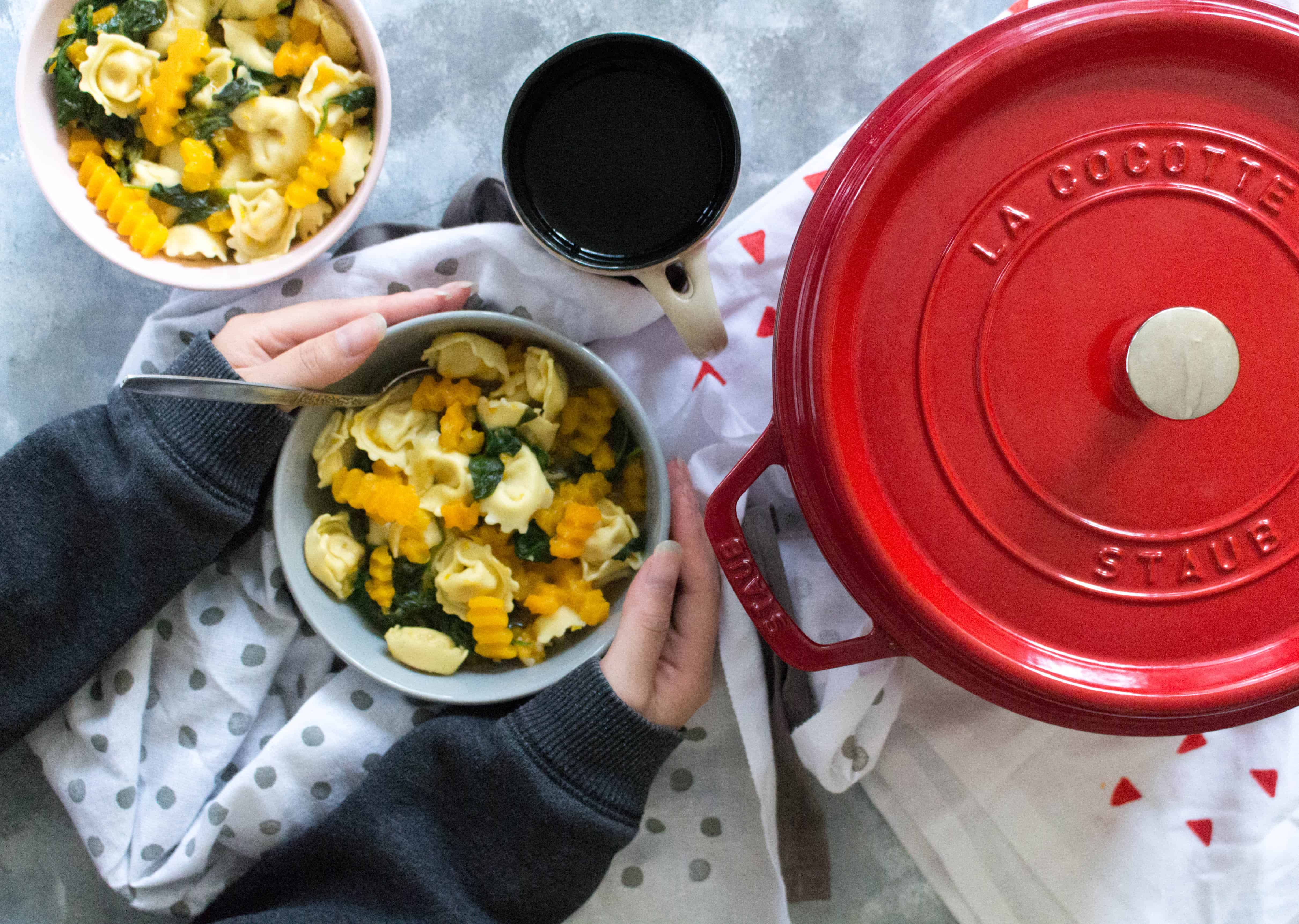 This One Pot Cheese Tortellini with Butternut Squash and Spinach will be one of the fastest dinners you'll make! It's delicious, easy, and takes under 30 minutes to make.