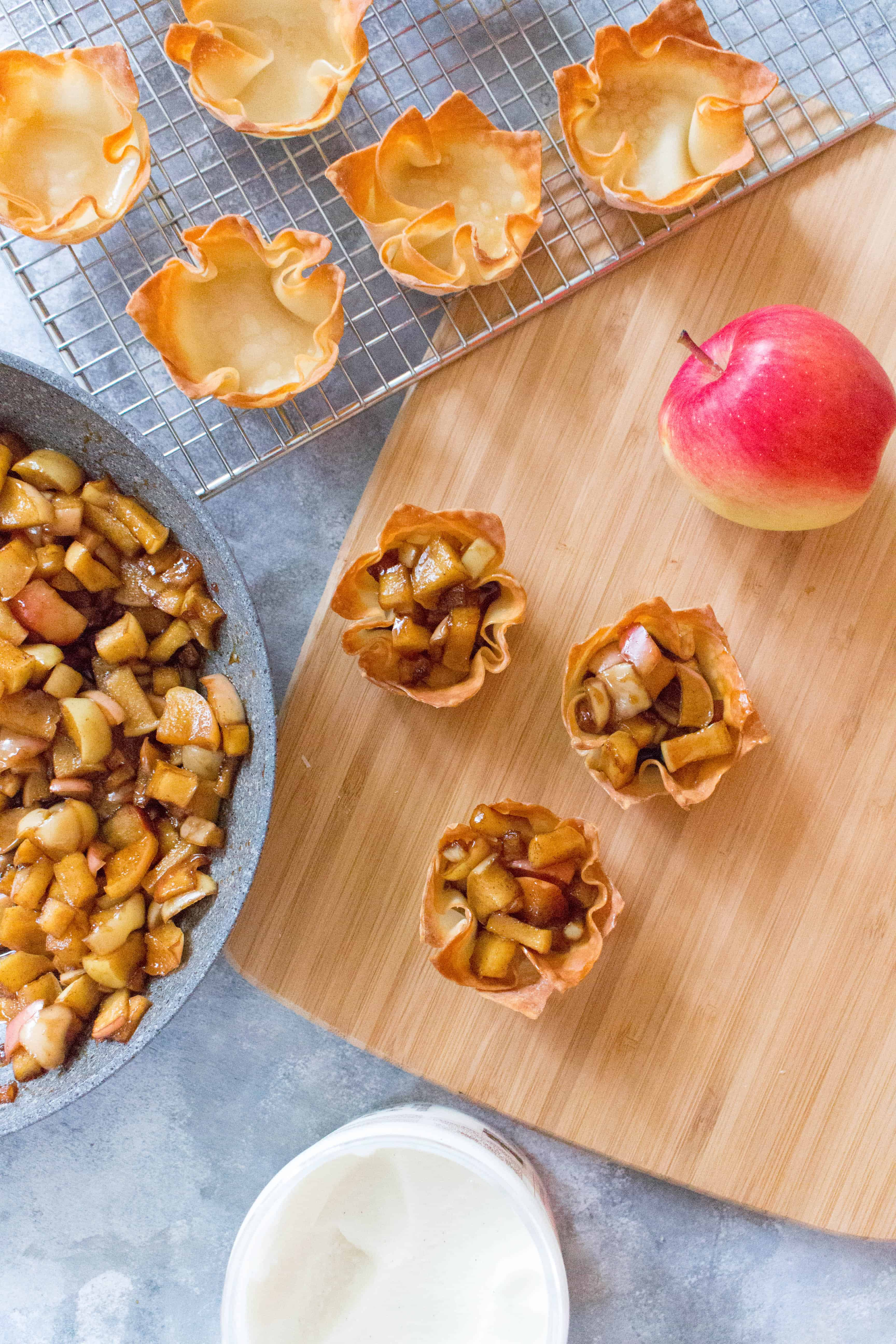 Take a fun new twist on your traditional apple pie with this wonton apple pie. Plus, individual servings means less time spent cutting and more time eating!