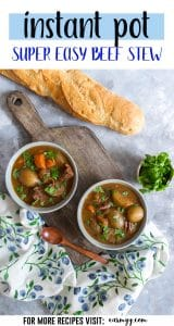 This super Easy Instant Pot Beef Stew will have you grabbing a second bowl!A thick and rich sauce filled with hearty potatoes, carrots, onions, and melt in your mouth beef that will only take under an hour with an Instant Pot! #instantpotrecipes #easyinstantpotrecipes #beefstewrecipes
