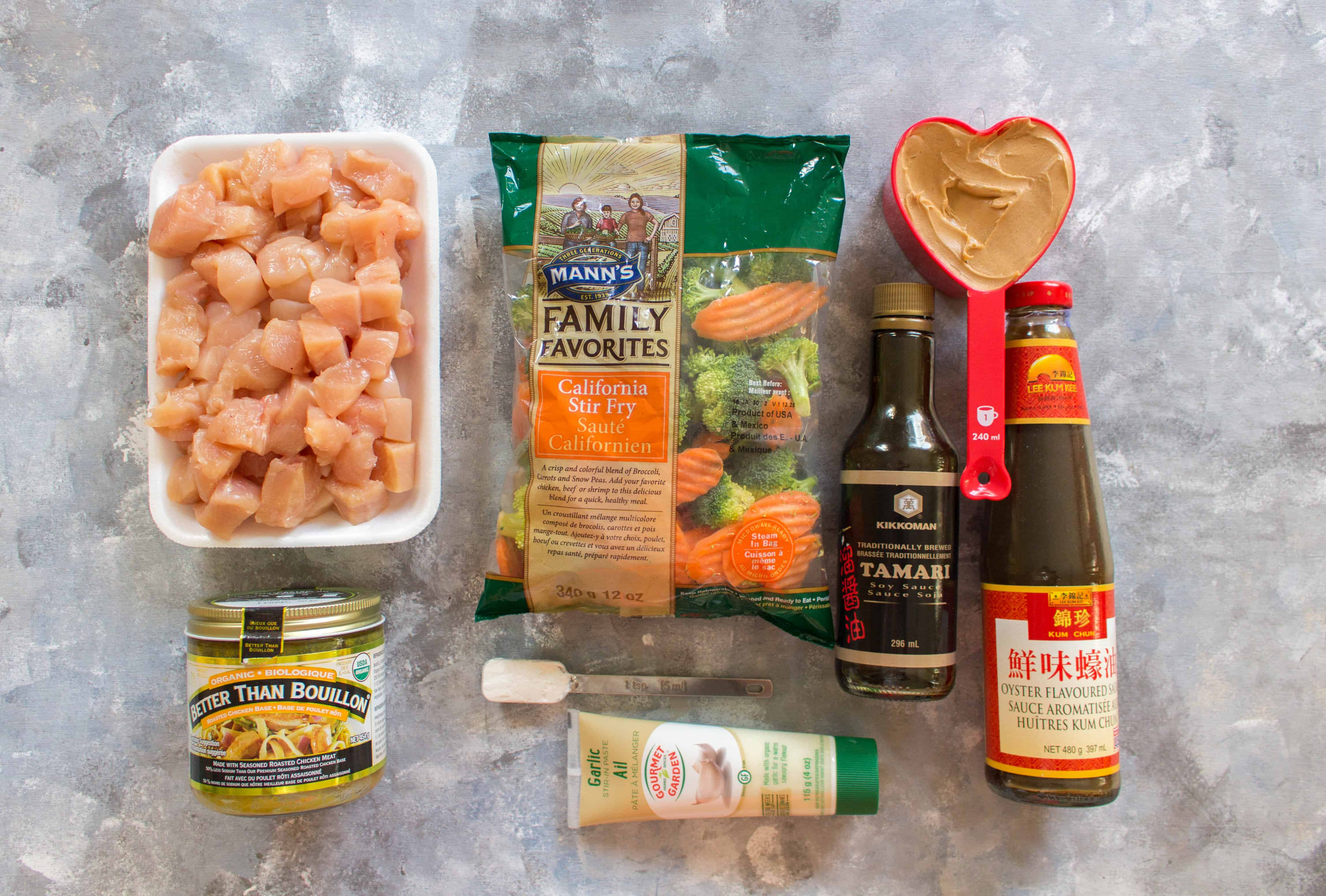 Craving a delicious satay stir fry from your local take out place? Skip the take out and make your own healthy chicken and vegetable stir fry with peanut sauce. It takes less than 30 minutes and you can pack the leftovers as a work lunch!
