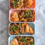 This Spicy Instant Pot Chicken and Rice Meal Prep is inspired by the chicken burrito bowls from Chipotle! It's so easy to make and takes less than 30 minutes to meal prep for four days!  #InstantPotRecipes #chickenrecipe #chipotlechicken