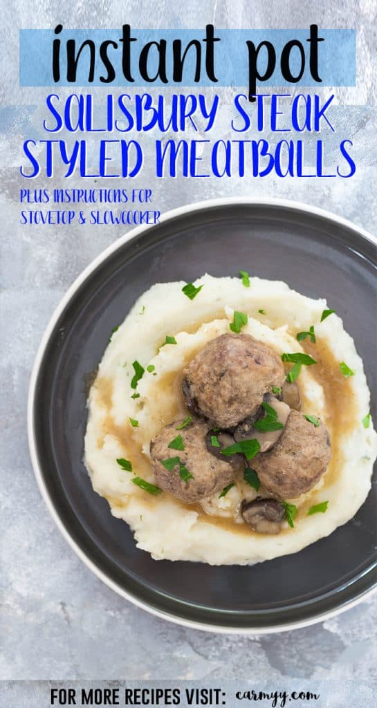 This Instant Pot Salisbury Steak Styled Meatballs Recipe is inspired by the salisbury steak frozen dinners in the frozen food aisle. These yummy salisbury steak meatballs are lightened up by using both turkey meat and beef with mushrooms and take under 30 minutes to make! #InstantPotRecipes #InstantPot #Meatballs #easyrecipes #healthyrecipes