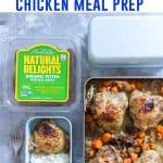 A delicious one sheet pan sweet and savory chicken meal prep that will have you looking forward to your packed lunch! #easylunchideas #easydinnerideas #onesheetpan #onepotmeals #chickenrecipes #chickenanddates