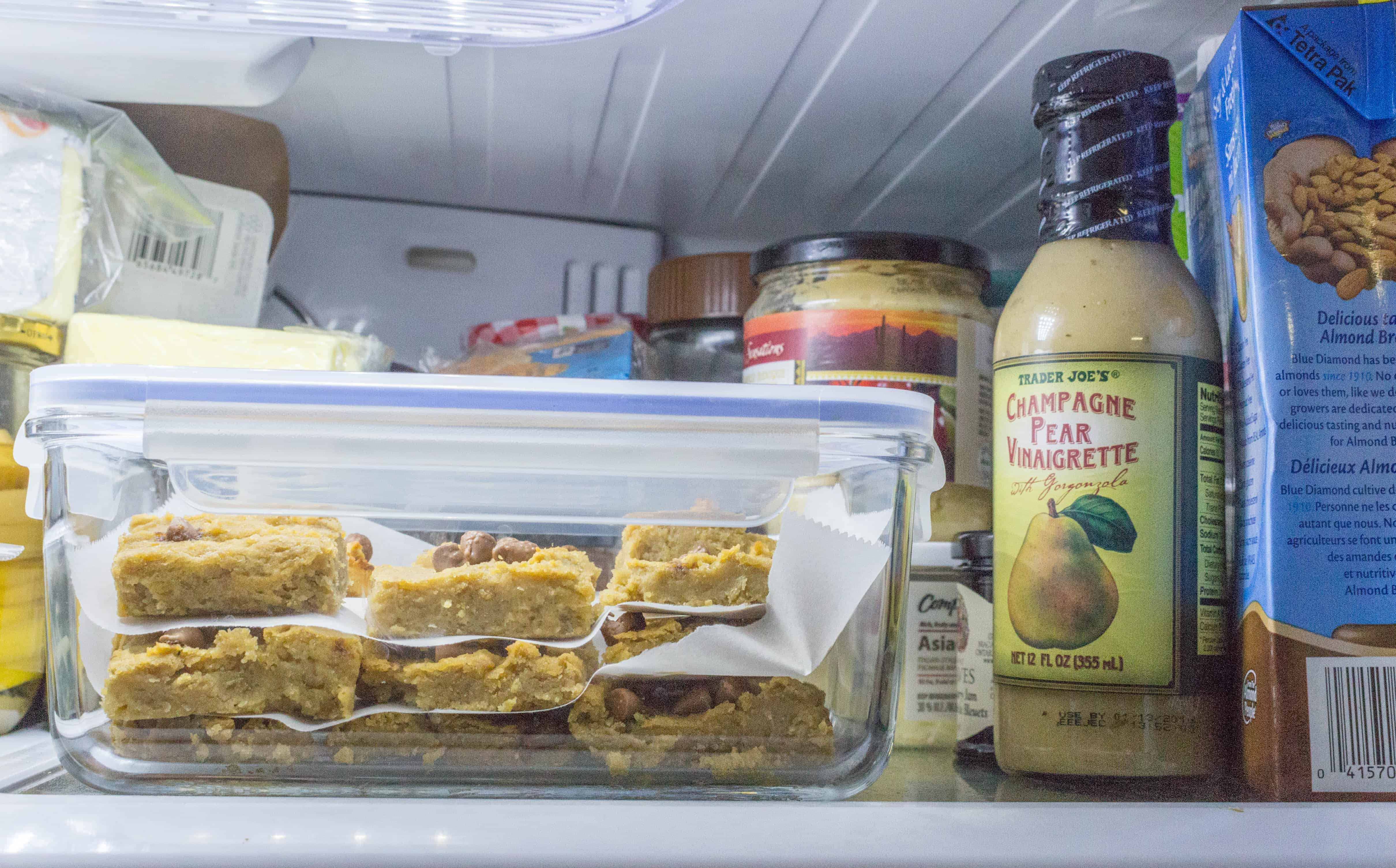how to store flourless healthy chickpea peanut butter blondie