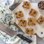 A cross between fudge and brownies, this Flourless Healthy Chickpea Peanut Butter Blondies is a guilt-free treat that takes next to no time to whip up! #healthydesserts #