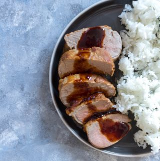 This super easy Instant Pot Teriyaki Pork Tenderloin only takes 7 minutes! This pork tenderloin is tender and coated in a delicious teriyaki sauce that is made inside the Instant Pot too!