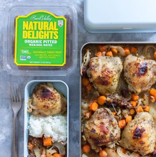 A delicious one sheet pan sweet and savory chicken meal prep that will have you looking forward to your packed lunch!