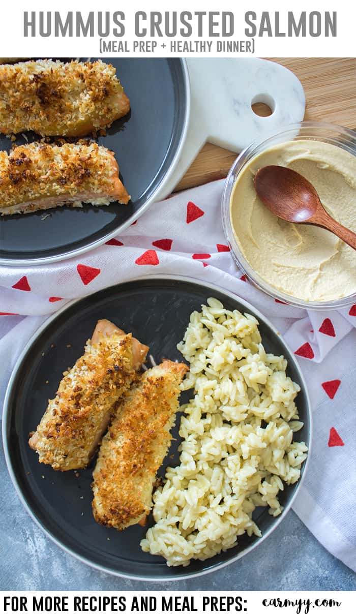 This delicious Hummus Crusted Salmon with Panko is baked to perfection! This Hummus Crusted Salmon is perfect for a healthy weeknight dinner and lunch meal prep with the leftovers. #mealprep #salmon #healthyrecipes
