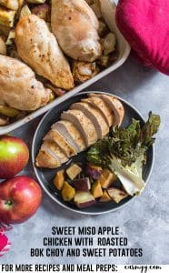 Infused with a delicious sweet apple flavour, this Sweet Miso Apple Chicken with Roasted Bok Choy and Sweet Potatoes is sure to give your dinner a fresh new twist! #easydinner #deliciousdinners