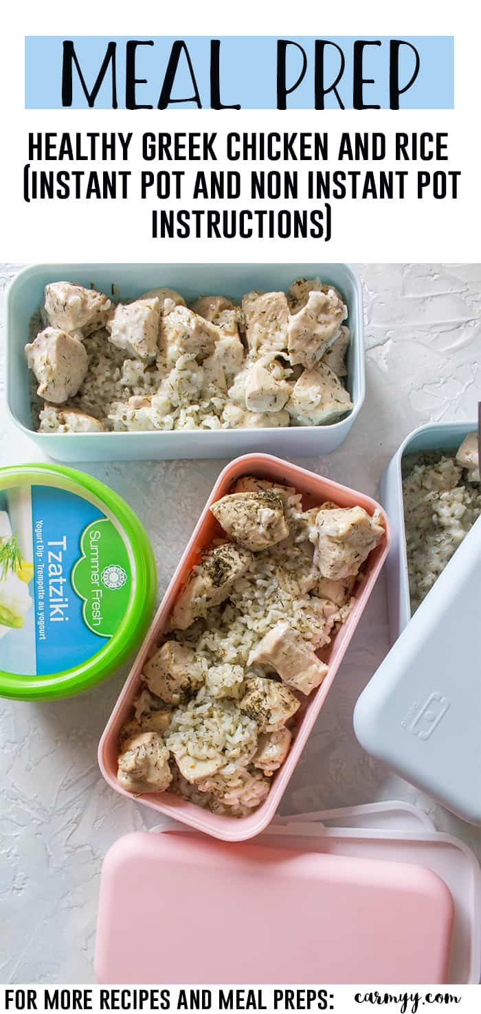 This Healthy Greek Chicken and Rice Instant Pot Meal Prep Recipe is the perfect meal prep for the week! This Greek Chicken recipe is so quick and easy, you're going to want to make all the time because it takes just a few spices and a couple of minutes to make! Non-Instant Pot instructions are down below if you don't have an Instant Pot! #Instantpot #easyrecipe #greekchicken #chickenrecipe