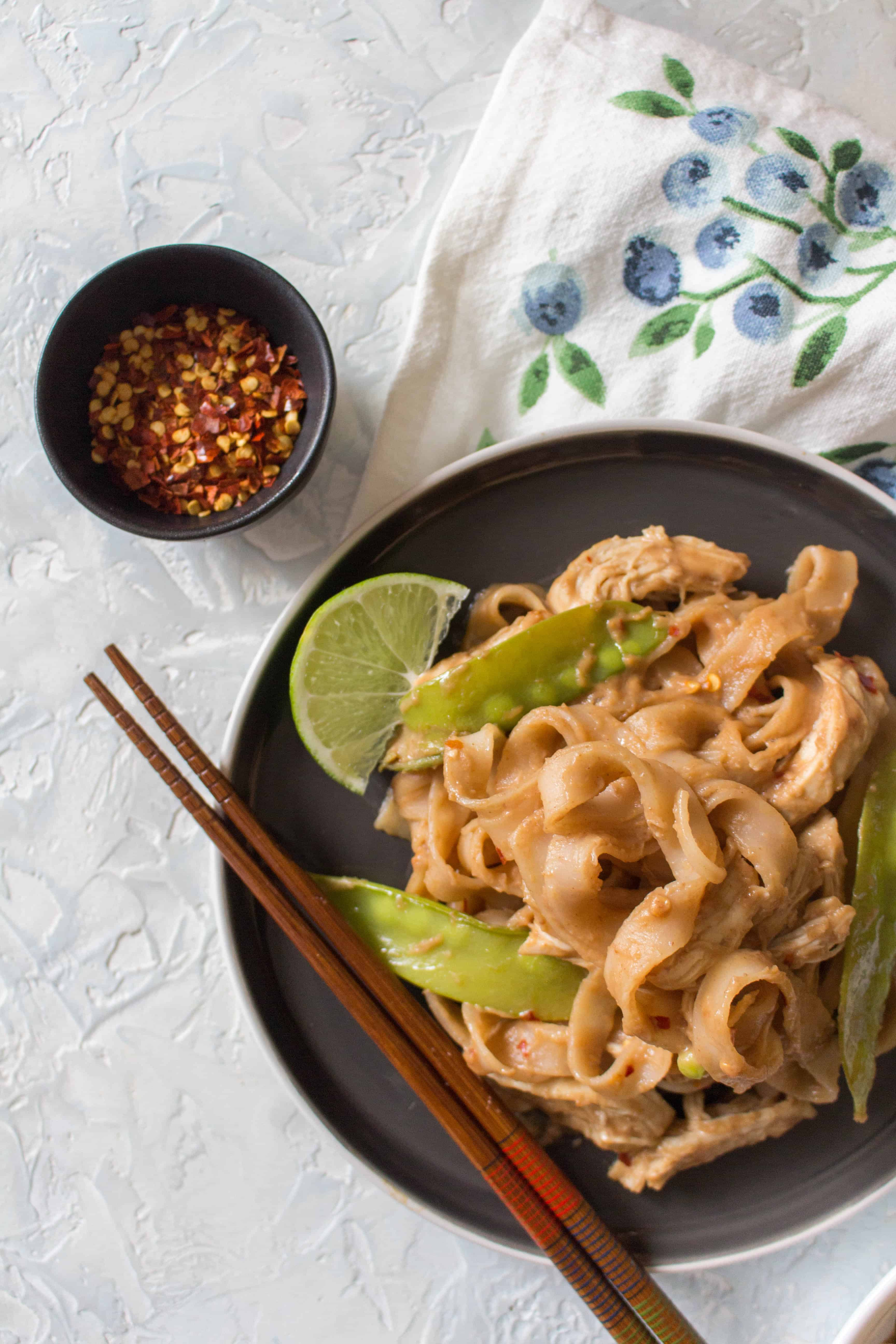 This Healthy Instant Pot Thai Peanut Chicken and Noodles Recipe is the perfect weeknight dinner! This Thai Peanut Chicken and Noodle recipe is so quick, easy, and versatile you're going to want to make all the time! Non-Instant Pot instructions are down below if you don't have an Instant Pot!