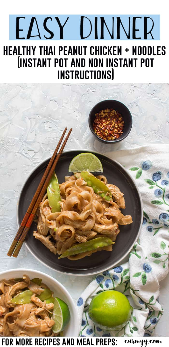 This Healthy Instant Pot Thai Peanut Chicken and Noodles Recipe is the perfect weeknight dinner! This Thai Peanut Chicken and Noodle recipe is so quick, easy, and versatile you're going to want to make all the time! Non-Instant Pot instructions are down below if you don't have an Instant Pot! #instantpot #instantpotrecipe #chickenrecipe #easydinner #recipe #chicken #peanutbutter