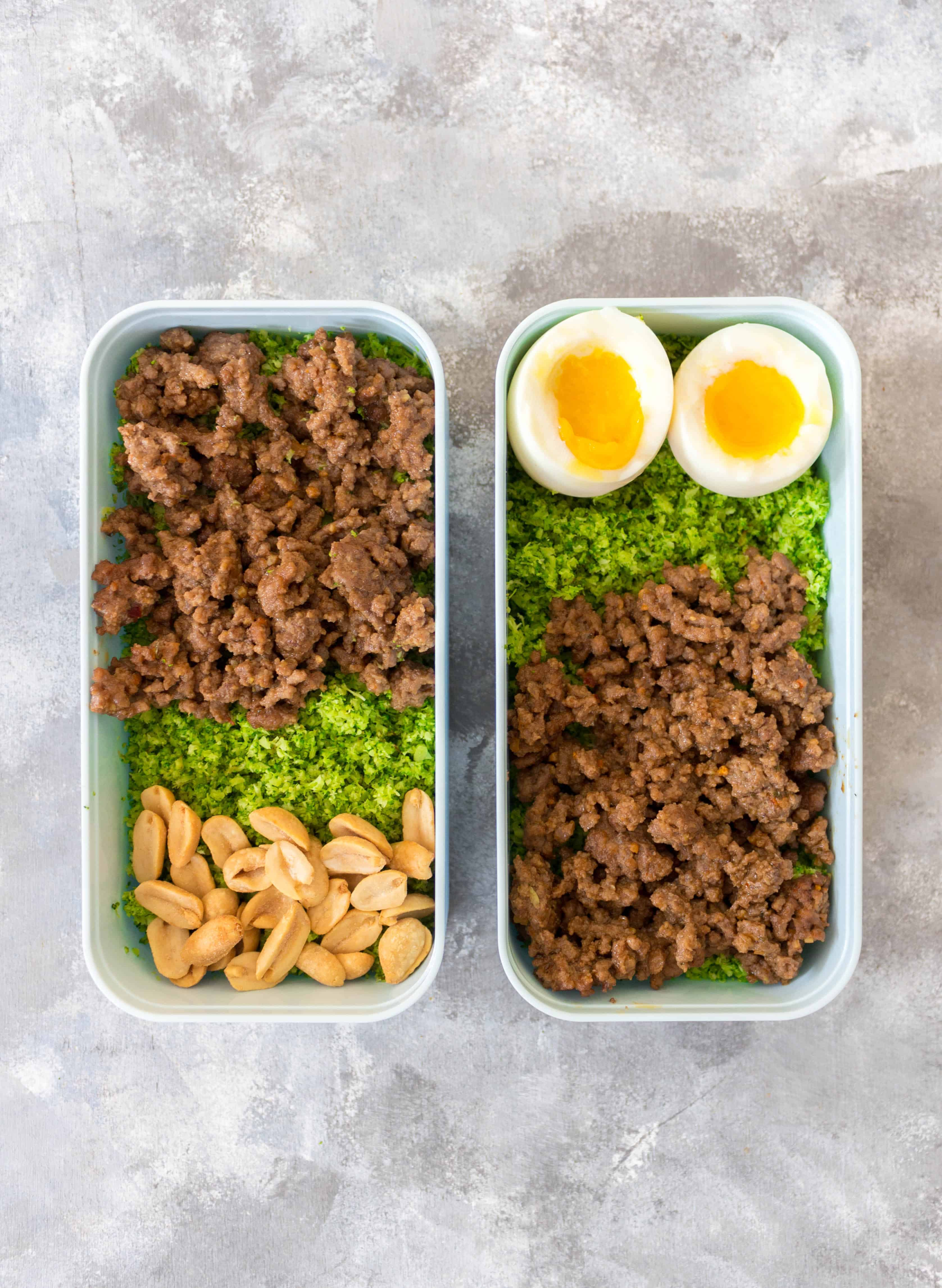 Tired of rice or cauliflower rice? Why not try broccoli rice! This delicious Spicy Peanut Beef with Broccoli Rice is a must try if you want to keep your weekly meal preps interesting! #mealprep #beefrecipes #broccoli