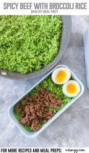 Tired of rice or cauliflower rice? Why not try broccoli rice! This delicious Spicy Peanut Beef with Broccoli Rice meal prep is a must try if you want to keep your weekly meal preps interesting! #mealprep #broccoli #broccolirice #beefrecipes