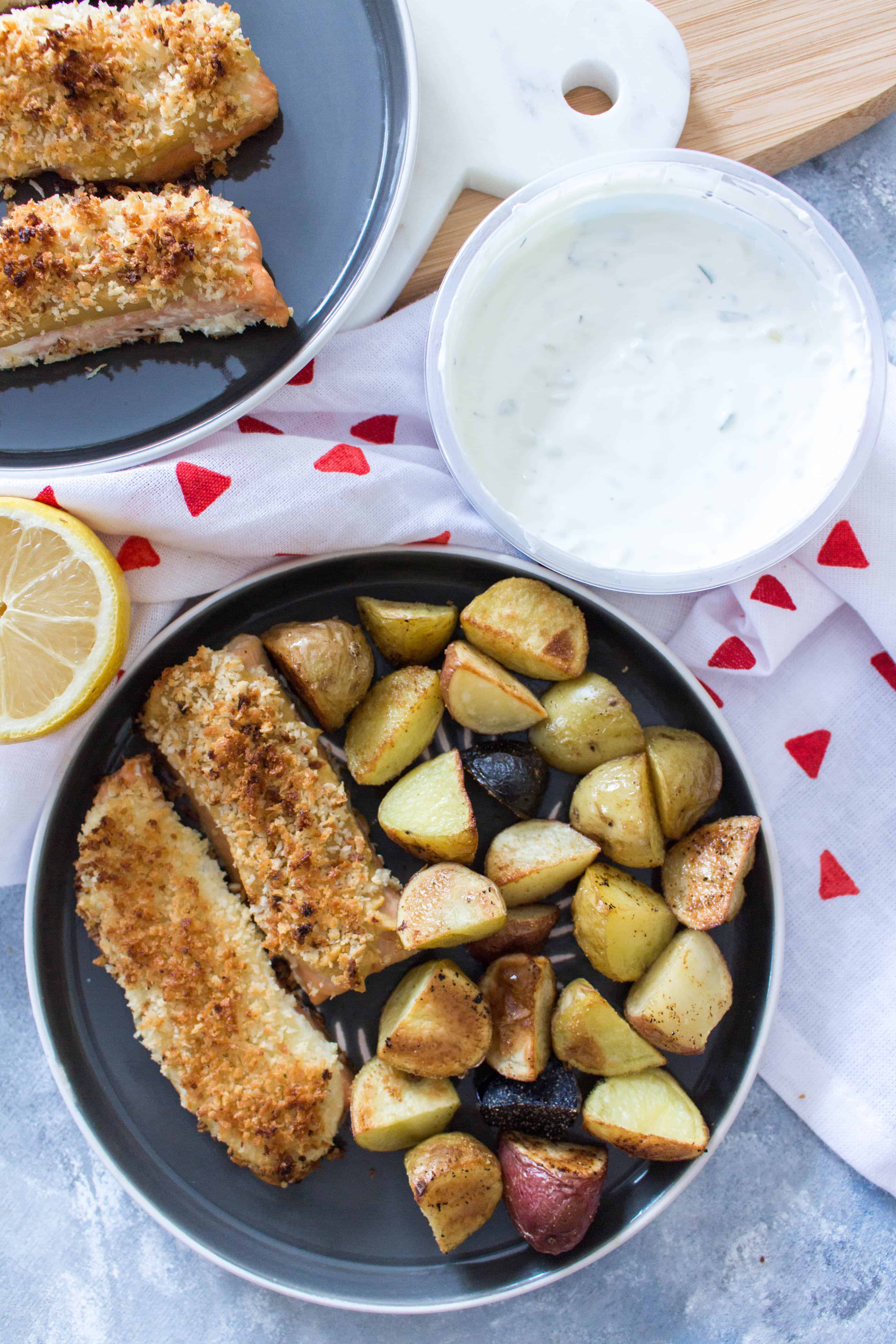 This delicious Tzatziki Crusted Salmon with Panko is baked to perfection! This Tzatziki Crusted Salmon is perfect for a healthy weeknight dinner and lunch meal prep with the leftovers.