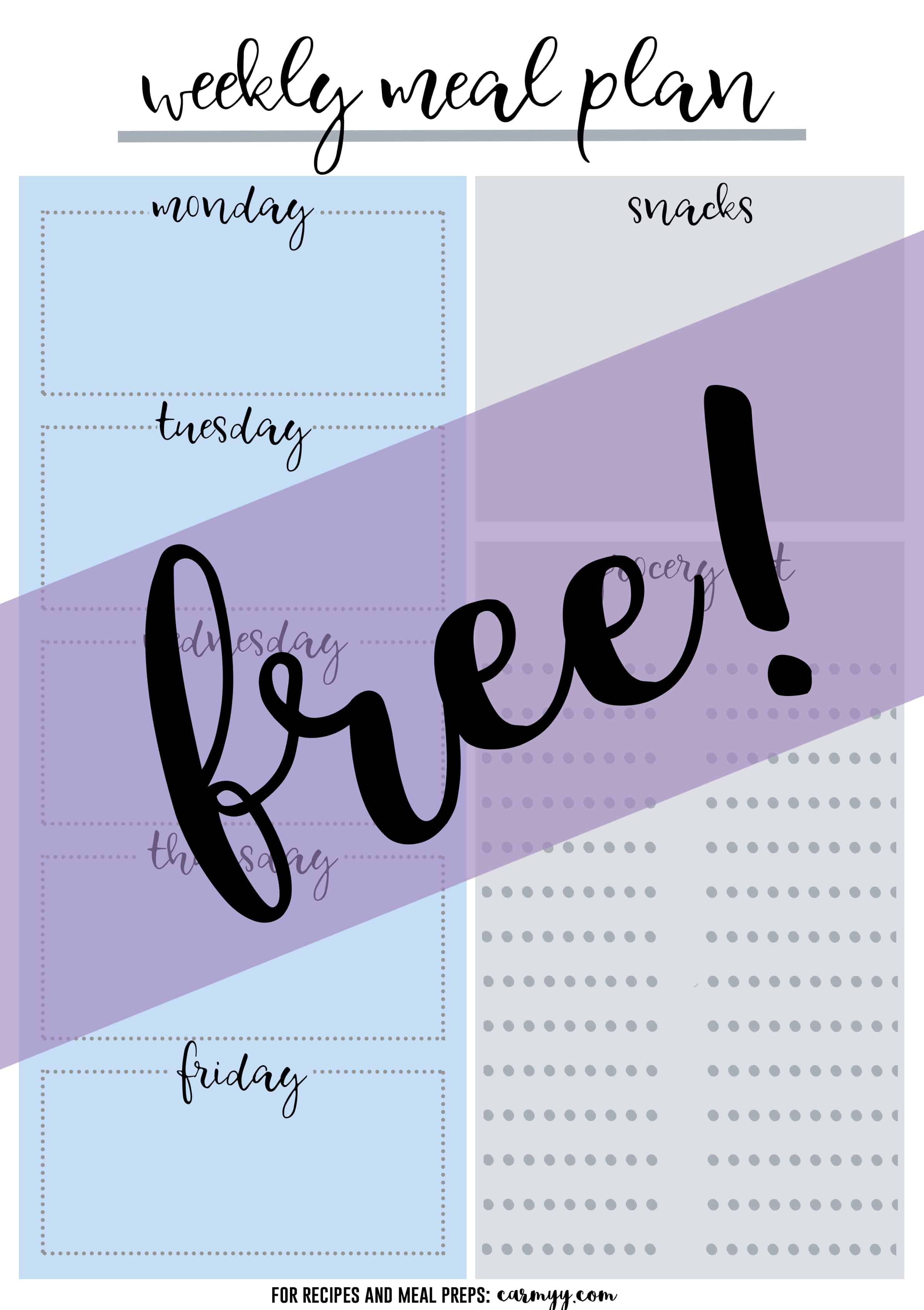 Free Printable Weekly Meal Planner - Printable Recipe & Grocery Planner! Sign up for the mailing list for the printable now!