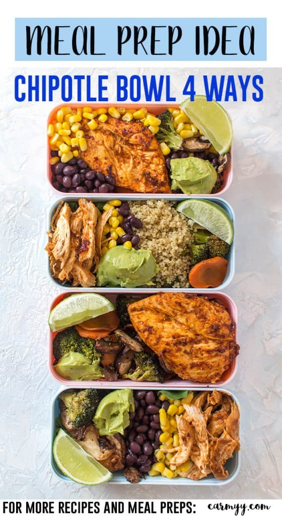Looking for a little more variety in your weekly meal prep? This chipotle chicken meal prep 4 ways is simple but changes slightly between each dish so you don't have to eat the same exact lunch 4 days in a row without having to do additional work! #MEALPREP #CHICKENRECIPES #EasyRecipes