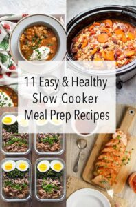 These 11 Healthy Slow Cooker Meal Prep Recipes are the best short cut to meal prepping for the work week! Just put all your ingredients in your slow cooker Sunday morning before heading out for some errands and you'll come home to healthy and delicious meals that'll last you all week long! #slowcooker #slowcookerrecipes #mealprep #slowcookermealprep #healthyrecipes #recipes
