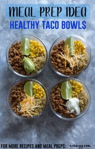 A healthier version of the popular taco bowls for lunch, this healthy turkey taco meal prep bowl will have you reaching for seconds! Made in under 30 minutes, it's simple but delicious!