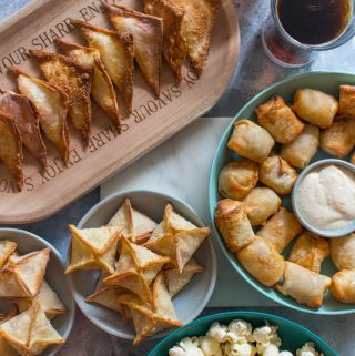 Do you often crave that crunch from deep fried foods while watching the game on TV? Want an healthier alternative that's not carrot sticks? Try these party snacks: wontons 3 ways with an Air Fryer! The perfect little bites!