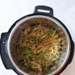 Craving a delicious lo mein but want to cut back on the carbs? Try this delicious low carb lo mein made with kohlrabi noodles made in under 10 minutes in an Instant Pot!