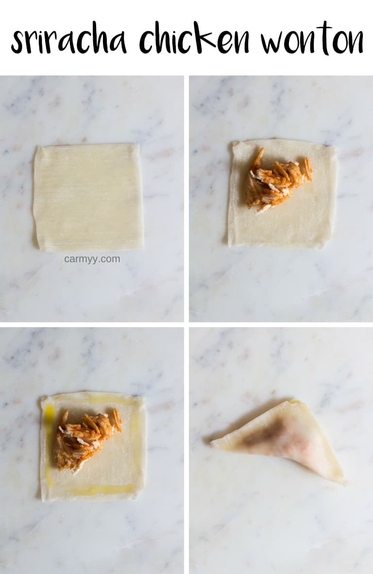 Step by step on how to fold sriracha chicken wontons air fryer snack.