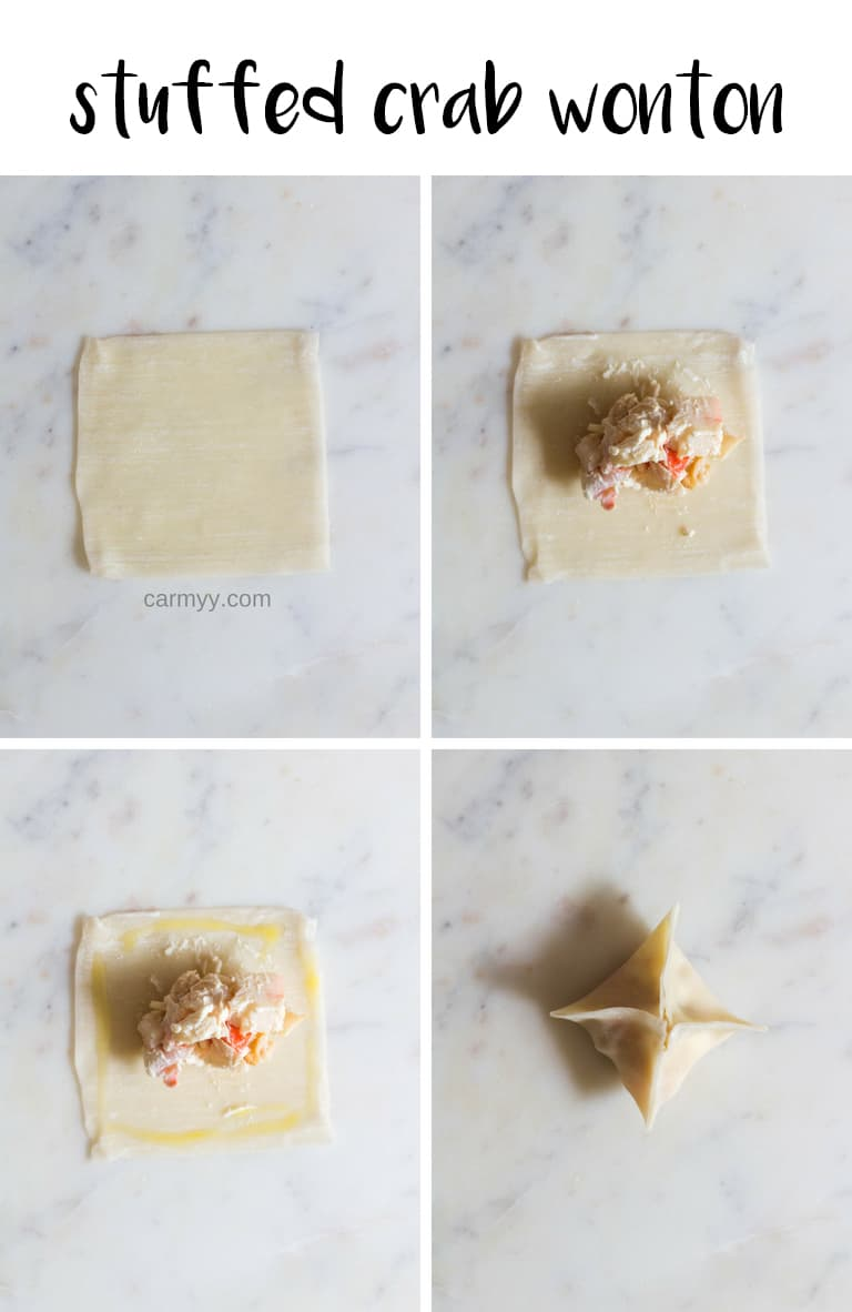 Crab stuffed wonton   Do you often crave that crunch from deep fried foods while watching the game on TV? Want an healthier alternative that's not carrot sticks? Try these party snacks: wontons 3 ways with an Airfryer! The perfect little bites!
