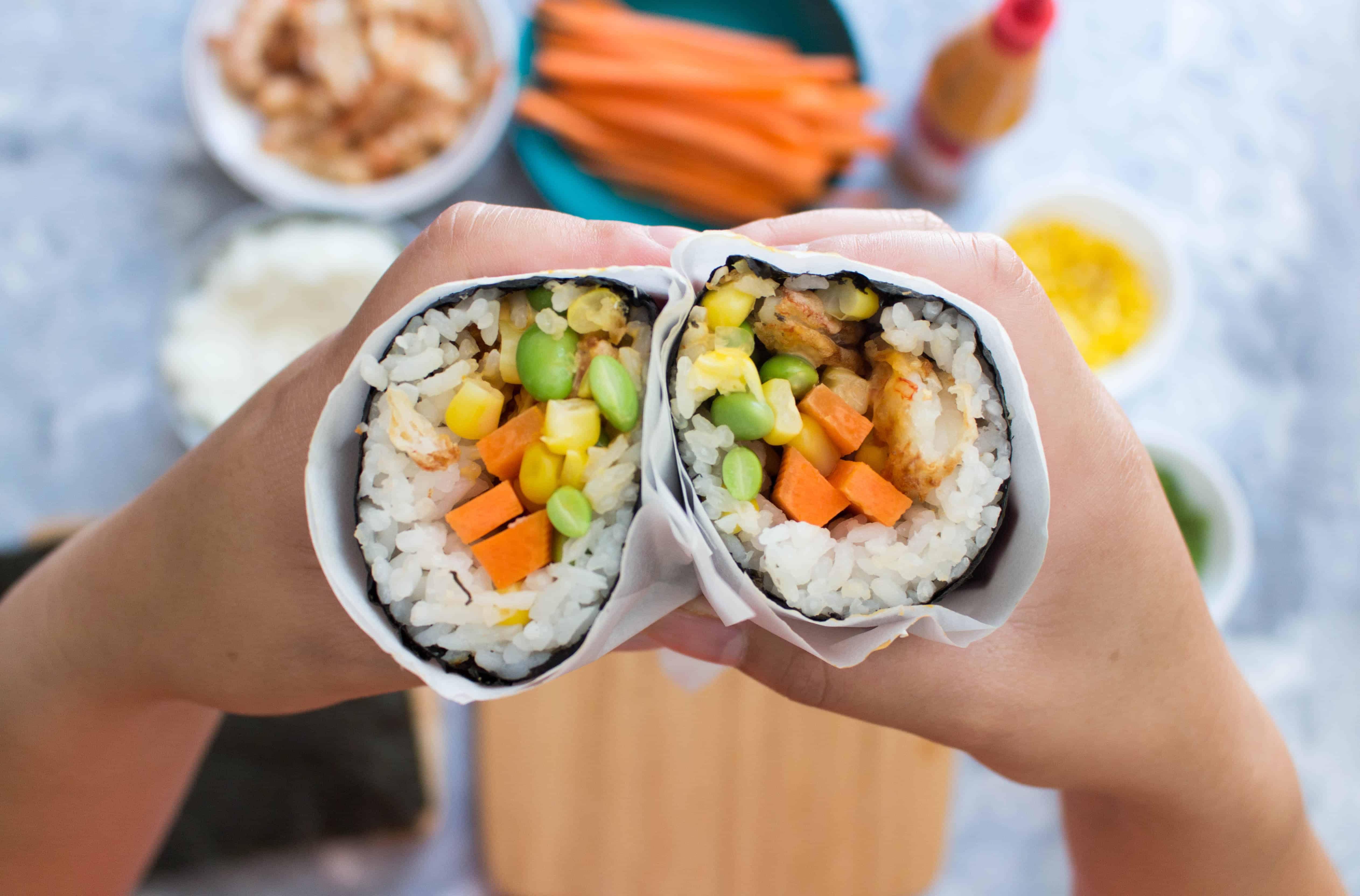 ThisAirFried Shrimp Tempura Sushi Burrito is the perfect lunch meal prep! Easy to grab and go, heat not required, and healthy, this sushi burrito will be your go-to lunch!